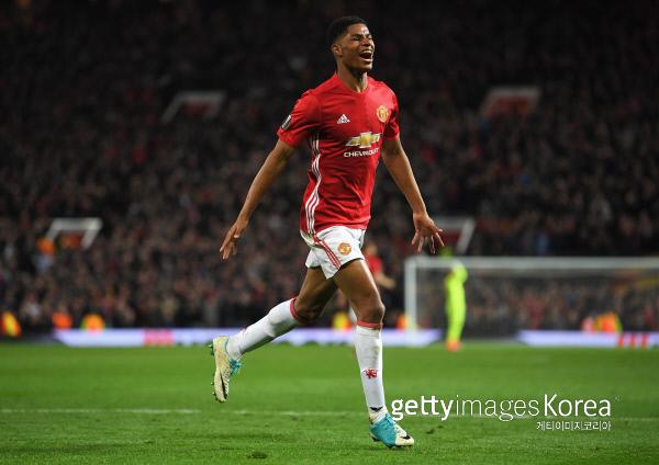 맨체스터유나이티드 마커스 래시퍼드가 21일 유로파리그 8강 2차전에서 안더레흐트에 결승골을 넣은 뒤 환호하고 있다. 사진/Getty Images이매진스