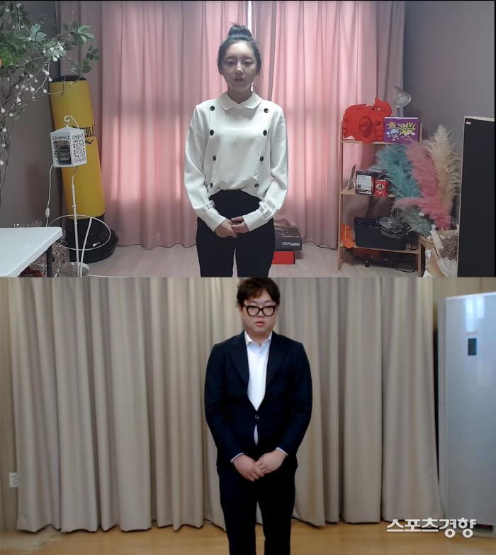 아프리카TV BJ 감스트(아래)와 외질혜가 성희롱 발언으로 논란이 일자 사과했다. 유튜브 방송 화면 캡처.
