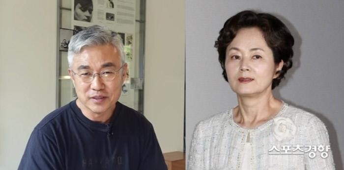 (왼쪽부터) 이영■ 더콘텐츠메이커 이사 겸 PD와 배우 고(故) 김영애. 유튜브 채널 이영■TV 캡처, 경향DB