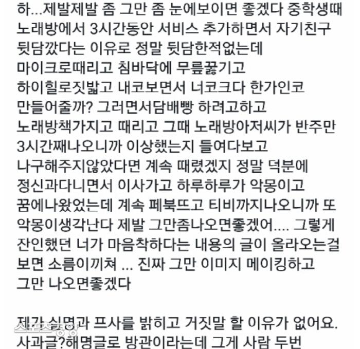 솜혜인에게 학교 폭력을 당했다고 주장한 폭로 글. 온라인 커뮤니티 캡처