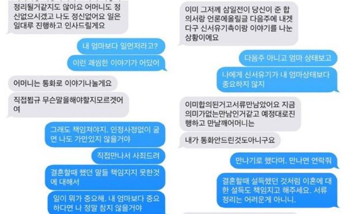 부부 파경을 알린 구혜선의 SNS 폭로글. 회색이 안재현, 파란색이 구혜선의 메시지다. 현재 삭제된 상태다.