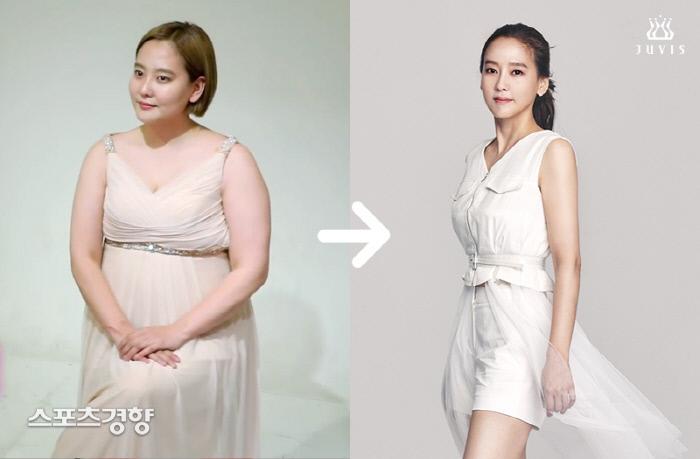 걸그룹 천상지희 출신 가수 다나 다이어트 전후 이미지. 사진 쥬비스