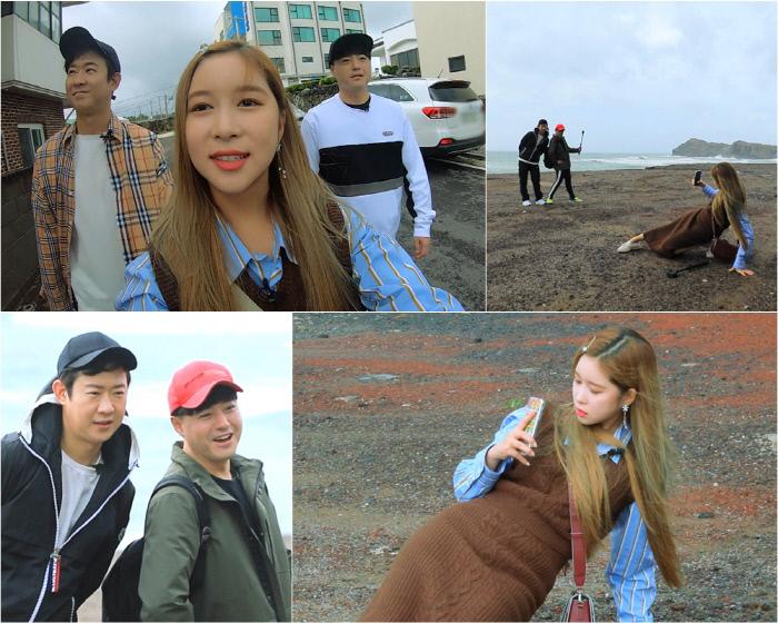 천명훈-노유민의 인생샷을 남겨주기 위해 열정을 폭발시키는 우주소녀 다영의 남다른 포즈 '배틀트립'. KBS 2TV 제공