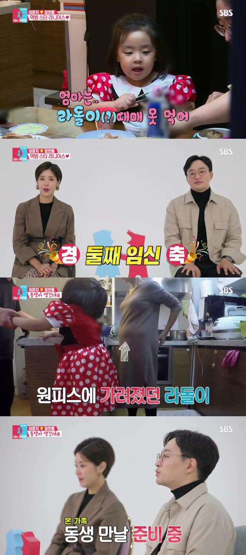 최고의 1분을 차지한 둘째 라돌이 임신 소식을 전하는 이윤지♥정한울 부부 '너는 내 운명'. SBS 제공