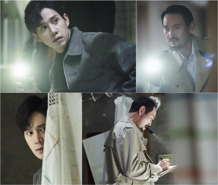 박성훈(서인우 역)과 김명수(보경父 심석구 역)의 과거 인연이 드러난 스틸 '싸이코패스 다이어리'. tvN 제공