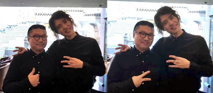 14일 오후 서울 모처에서 만남이 성사된 양준일과 오인천 영화 감독. 사진제공 오인천
